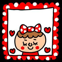 riekimの赤ドットの女の子カスタムスタンプ